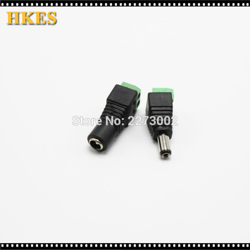 10 Pairs 2.1 x 5.5 DC Power Male / 2.5X5.5 Female DC Power Plug Jack Adapter Connector Plug for CCTV Camera LED strip Light