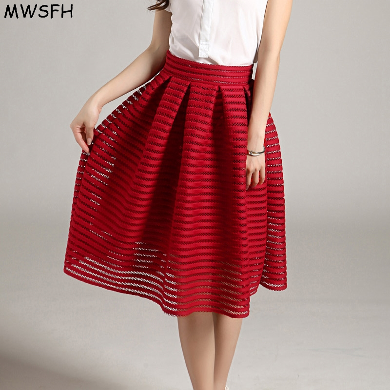 MWSFH Sommar Ny Stil Sexig Mode Kjol Kvinnor Striped Hollow-out Fluffy Kjol Swing Kjolar Ladies Black Red Ball Gown Lång