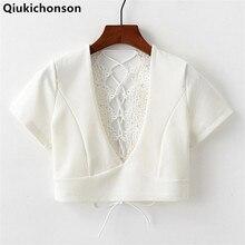 цены на Qiukichonson Women Sexy Blouse 2018 Summer Tops Ladies Deep V-Neck Crochet Lace Patchwork Back Lace up Crop Tops White Black  в интернет-магазинах