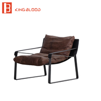 Modern leisure soft relax oil wax PU leather upholstery chair design for living room armchair