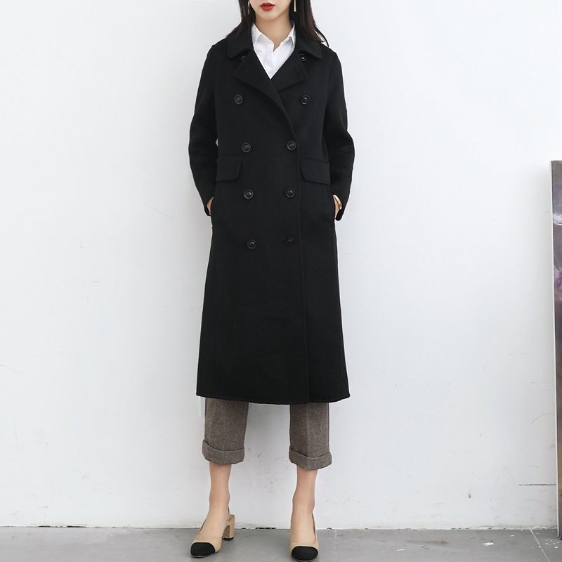 Shuchan Womens Coats Winter Autumn Winter 2019 New Items Woolen Coat Double Breasted Solid Casaco Feminino Outerwear clothing in Wool amp Blends from Women 39 s Clothing