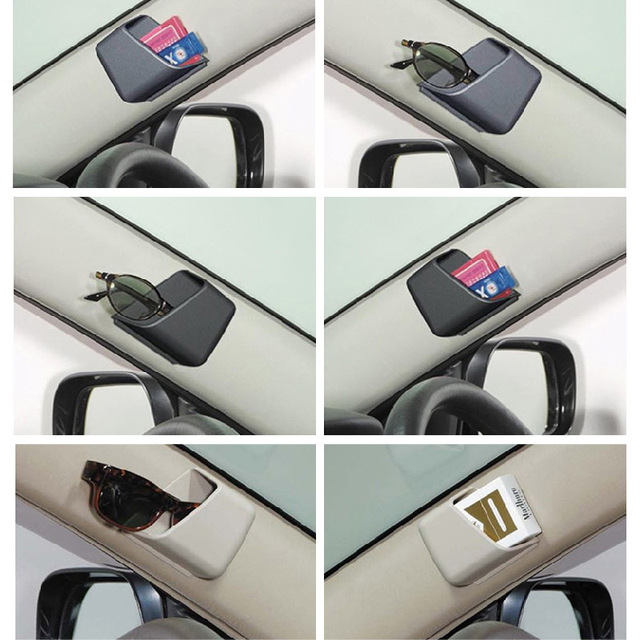 2 piezas Universal coche accesorios gafas organizador caja de almacenamiento soporte 3 colores negro gris Beige