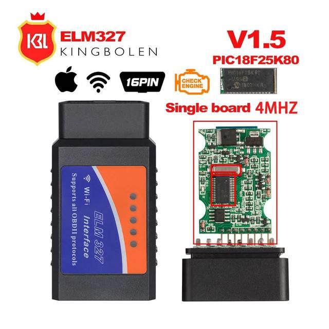 OBD2 ELM327 V1.5 Bluetooth/WI-FI автомобиля диагностический инструмент ELM 327 считыватель кода OBD чип PIC18F25K80 работа Android/IOS/Windows автомобиля 12 V