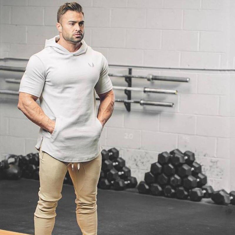 Crossfit Mens pullover Fashion leisure fitness Short sleeve Hoodies jackets Sweatshirts Bodybuilding sportswear topcoat