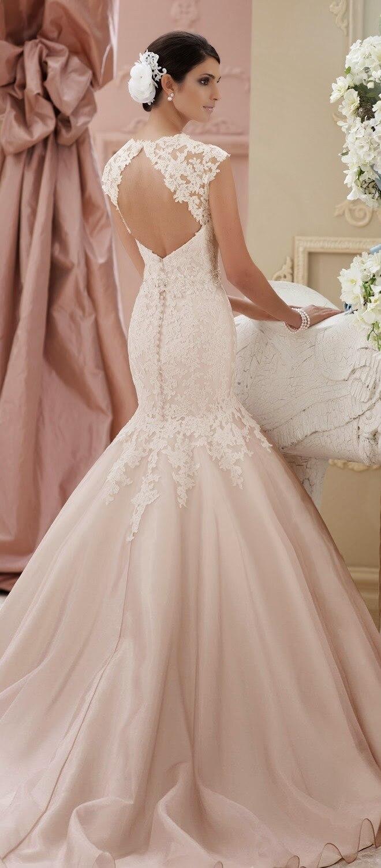 Aliexpress.com : Buy Peach Wedding Dress 2015 New Mermaid Bridal ...
