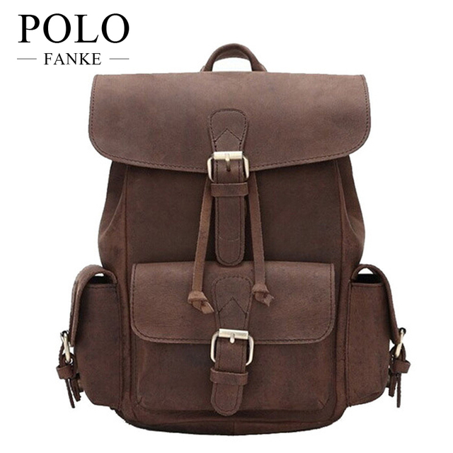 Vintage Genuine Leather Backpack Casual College Style Rucksack Full Cowhide For S Skin Women Men