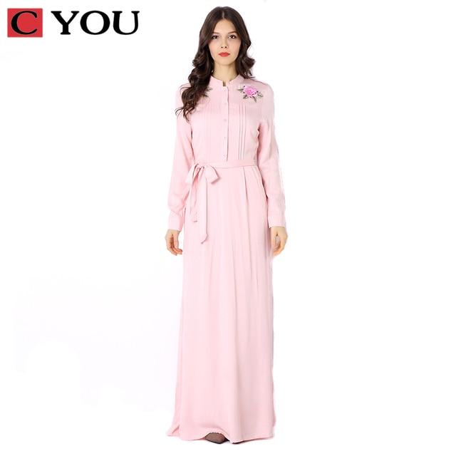 super popular ec042 5db7f US $38.16 |C SIE Damen Lange Kleider Partei Langarm Kleid Maxi Abaya  Islamischen Frauen Vintage Dres Kleidung Robe Jordan Mode Embroidey in C  SIE ...