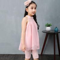 Children Clothes Sets Fashion Summer Girls Clothing 2 PCS Suit Chiffon Princess Sleeveless T Shirt Pants