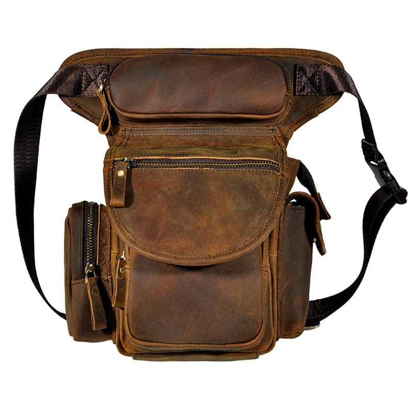 Brand Crazy Horse Genuine Leather Leg Thigh Belt Waist Fanny Pack Casual Travel Bag Men's Cross Body Shoulder Messenger Bags