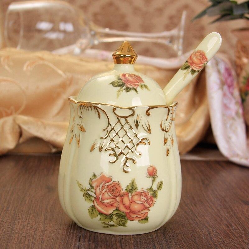 Belle bouteille d'assaisonnement en céramique 3 pièces/ensemble pot à épices style européen sauce pot fournitures de cuisine conteneur de stockage réservoir - 5