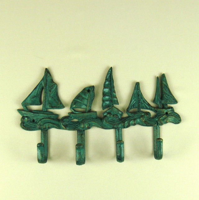 Mediterranean Style Foundry Iron Sailing Boat Coat Hook Decorative ...