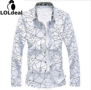 الرجال المطبوعة طويلة الأكمام قميص ضئيلة الأعمال الترفيه قميص زائد حجم 5xl 6xl 7xl الرجال عارضة ماركة القميص بلايز 2017 جديد