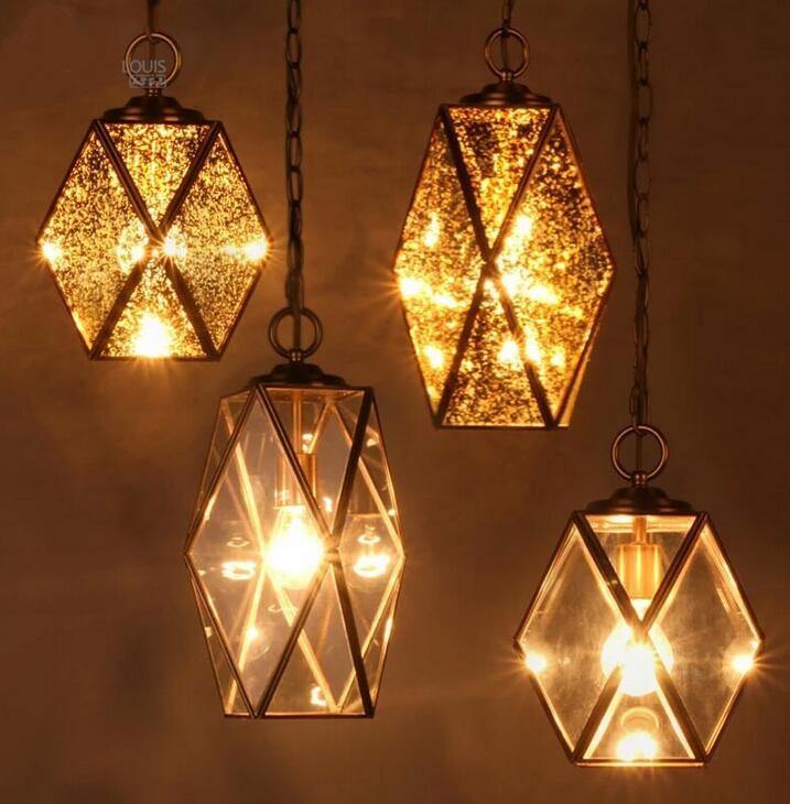 single pendant light Vintage Retro made of glass all copper single head dining room bedroom balcon corridor  zcl american rural wall lamp all copper bedroom berth lamp lens headlight corridor european contracted sitting room single head wal
