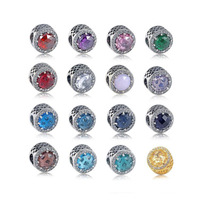 Very Popular Top Quality Different Meaning Color Double Stone 925 Sterling Silver Charm Fitting Famous Bracelet