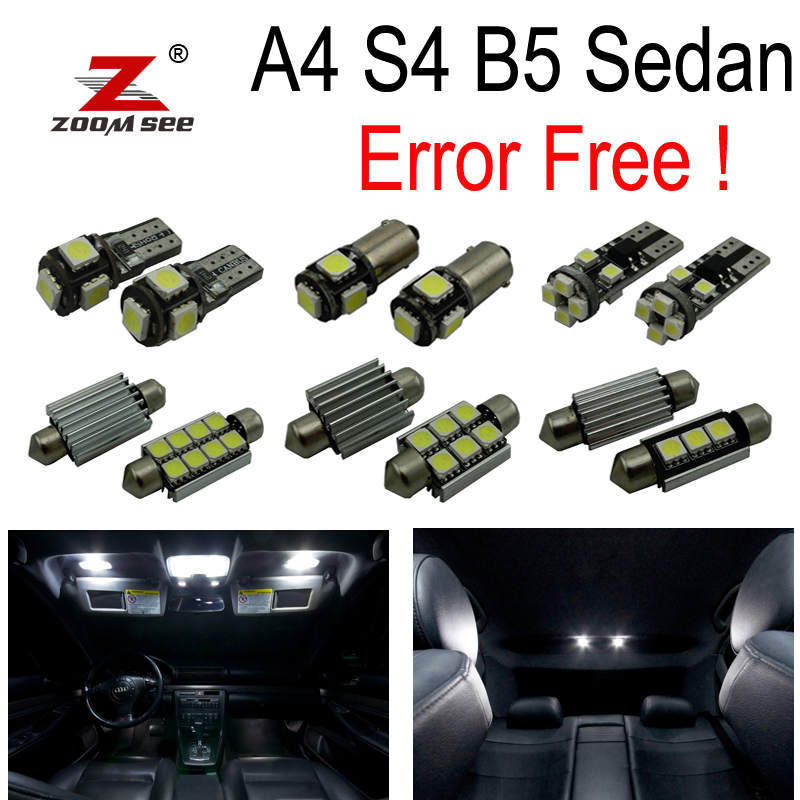 17pc x 100% Error Free LED Bulb Interior dome map Light Kit Package for Audi A4 S4 B5 Sedan ONLY (1996-2001)