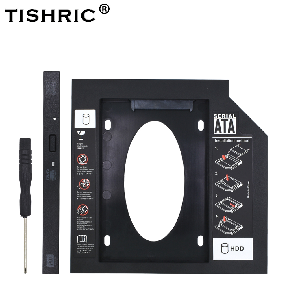 TISHRIC Universal 2nd 2.5 SATA 3.0 9.5mm Optibay ODD/HDD/SSD/DVD Caddy For Laptop HDD Enclosure DVD-Rom Adapter Hard Drive Caddy