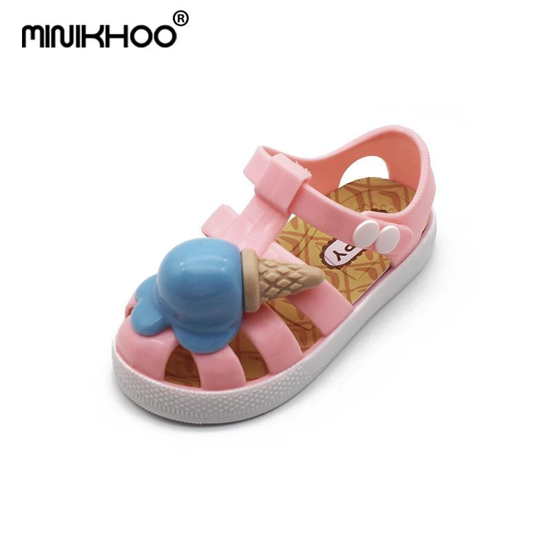 Mini Melissa Roman Ice Cream Girl Jelly Sandals Children Cute Princess Sandals Baby Shoes Children Shoes Melissa Jelly Sandals