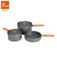 Yangın akçaağaç Feast 3 açık kamp yürüyüş tencere sırt çantasıyla pişirme piknik Pot tava seti katlanabilir kolu 2 tencere 1 tava FMC F3