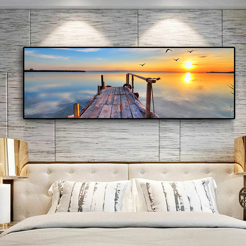 Natural Wooden Bridge Sunset Landscape Canvas Painting Cuadros Posters And Prints Scandinavian Wall Art Picture For Living Room