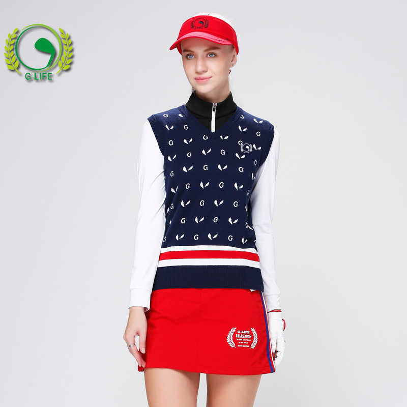 2018 G-life women golf vest sleeveless shirts spring sports waistcoat sweater golf training apparel lady top cotton vest thermal fashion women s sleeveless hooded shiny cotton vest red l
