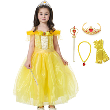 все цены на Fancy Princess Belle Dress Girl Cosplay Costume Children Beauty and The Beast Bella Dress up Costumes Kids Halloween Party Dress