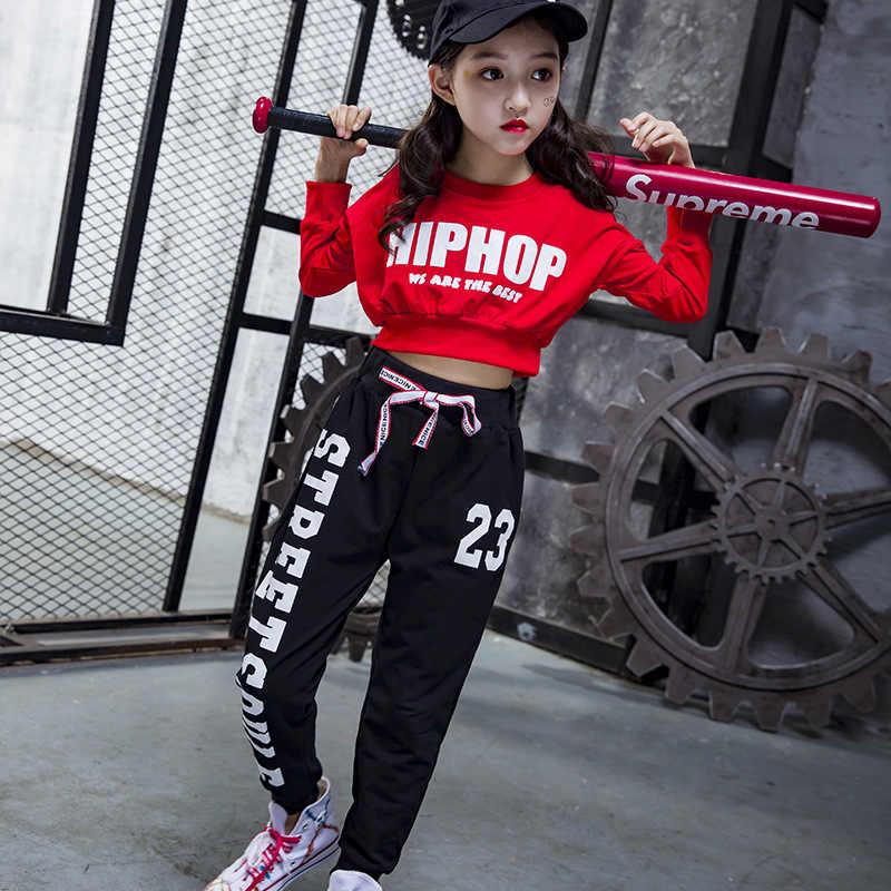 ילדי היפ הופ בגדי ריקוד ג 'אז תלבושות עבור בנות בנים סלוניים ריקוד רחוב ריקוד ללבוש להזיע חולצת Jogger מכנסיים