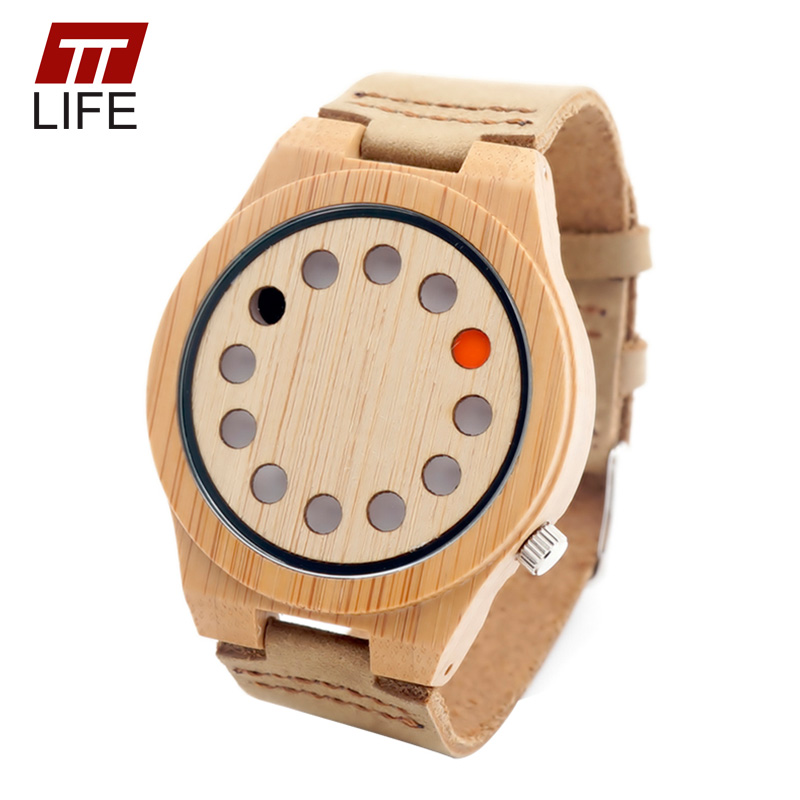 ФОТО TTLIFE Mens creative 12 Holes Natural Bamboo Wood Watch Genuine Leather Band Buckle Quartz Movement Wooden Wrist Watch A04