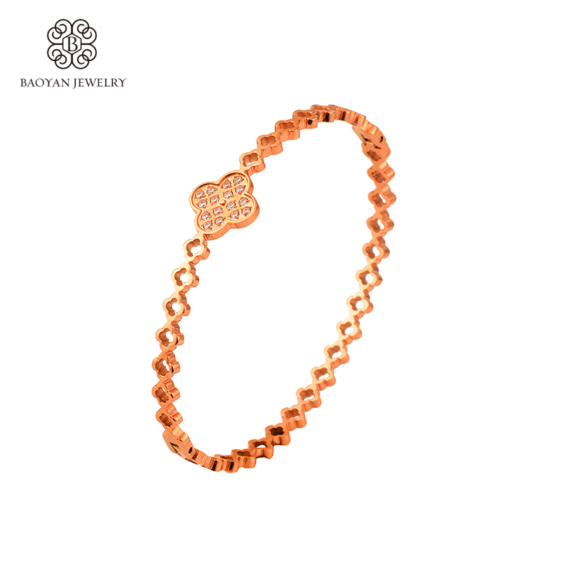 2016 New Rose Gold Color Stainless Steel Bangles For Women Hollow Flower  Bracelets Bangle Fashion Jewelry High Quality A5 1f2da30bd57a