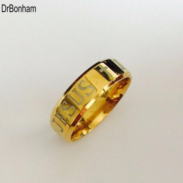 Alta qualidade europeia eua tungsten anel 8mm gold filled jesus anel das mulheres dos homens cruz engrave carta bíblia anel EUA tamanho 6-14