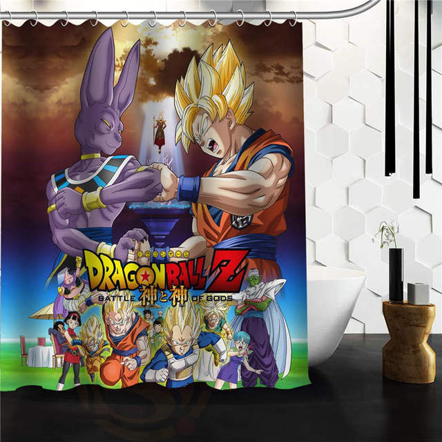 High Quality Modern Design Polyester Bath Screen Print Hot Cartoon Dragon Ball Z Shower Curtain Waterproof 60 X 72 With Hooks