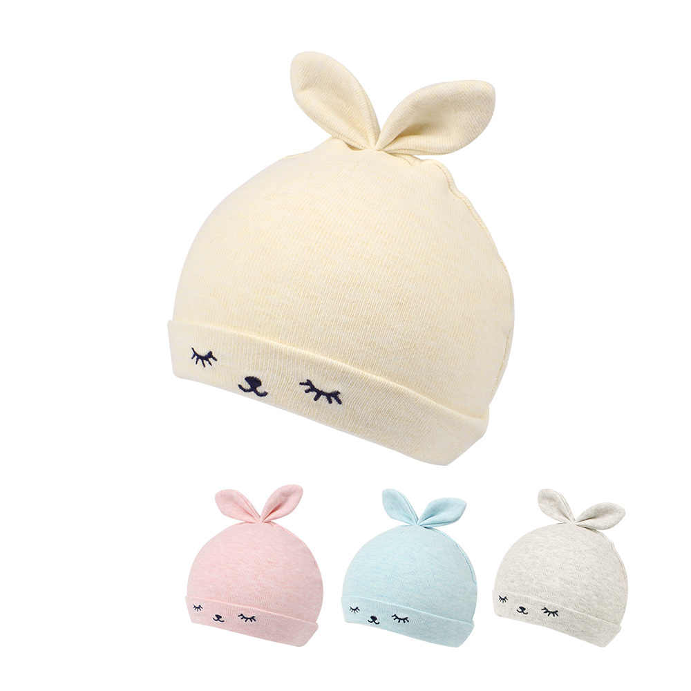 dd86ded7334 Cartoon Rabbit Baby Beanie Hat Cute Ears Newborn Tire Hat For Boys Cotton  Comfortable Infant Beanie