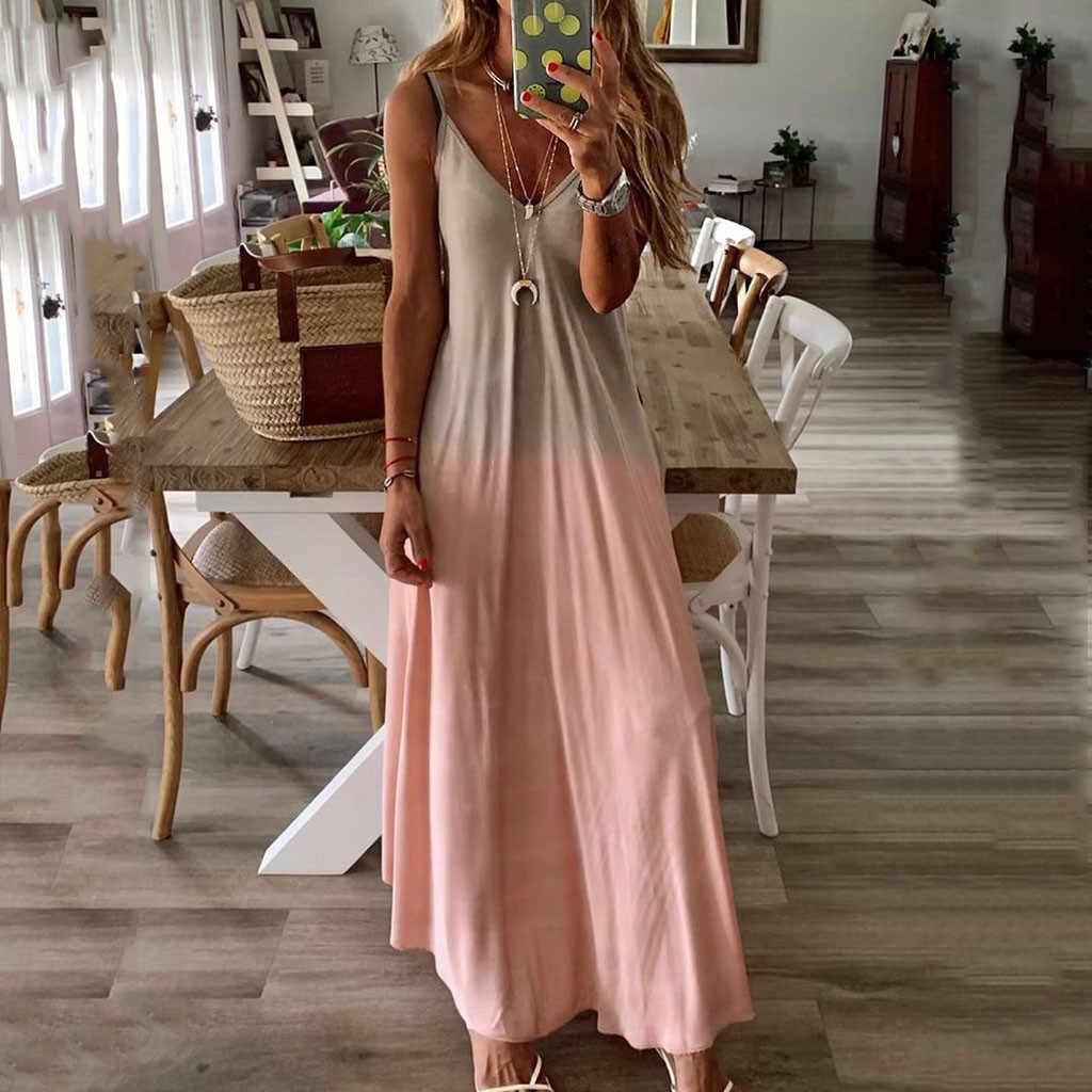 Длинное платье с v-образным вырезом для женщин в богемном стиле, женские вечерние платья, повседневное длинное платье без рукавов с принтом Макси