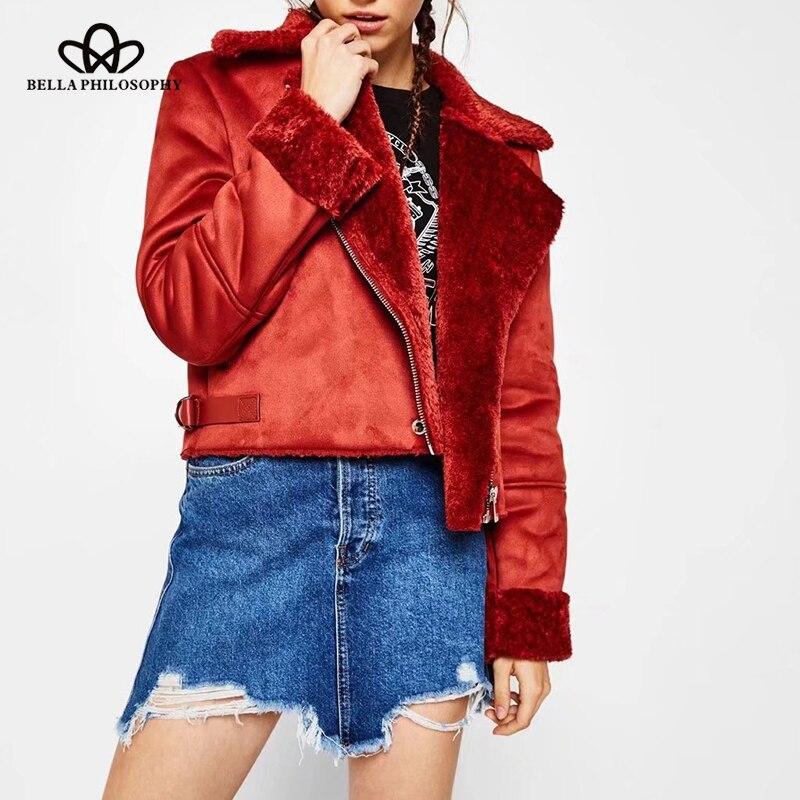 Bella Philosophy 2018 autumn winter warm jacket women faux fux jacket female thicken coat zipper turn down collar outwears