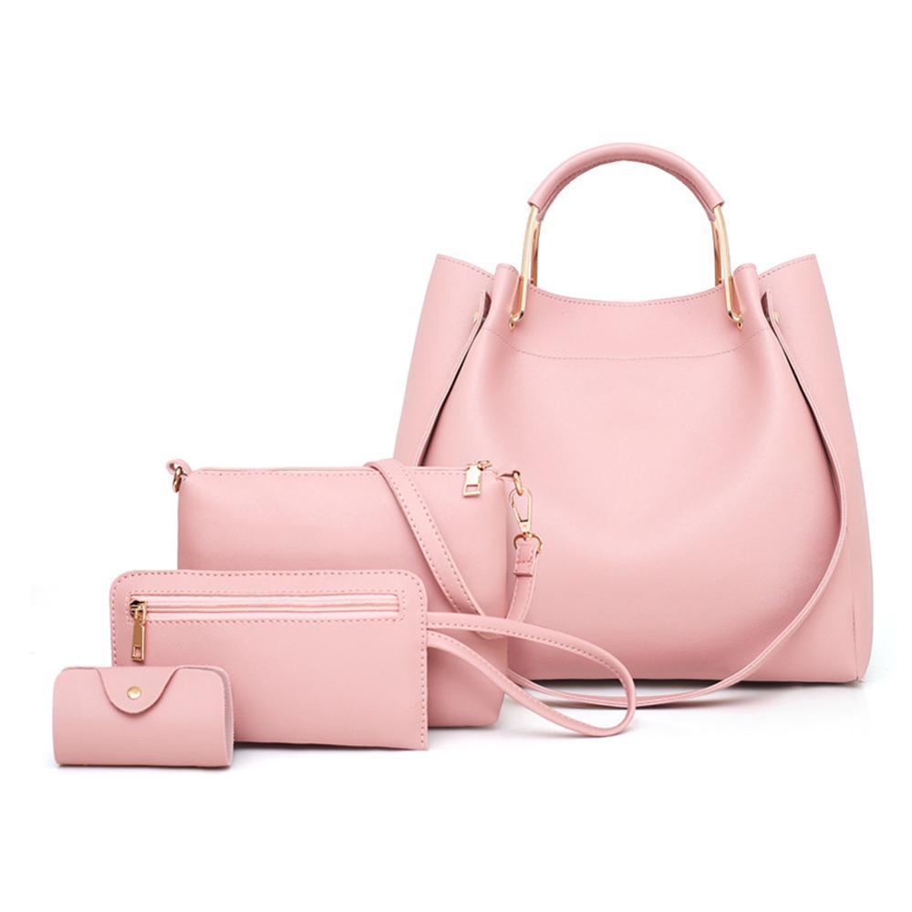 4pcs/set PU Leather Luxury Women Bags Casual Handbags Vintage Shoulder