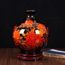 Jingdezhen Ceramic Vase Flower Arrangement Modern Chinese Simple Crystal Glaze Home Living Room Decoration Craft