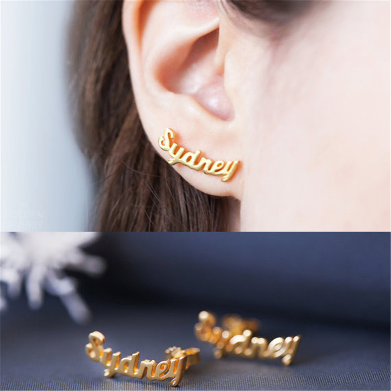 High quality custom name earrings for women girl friend special jewelry any design initials stud earrings earing jewellery gift