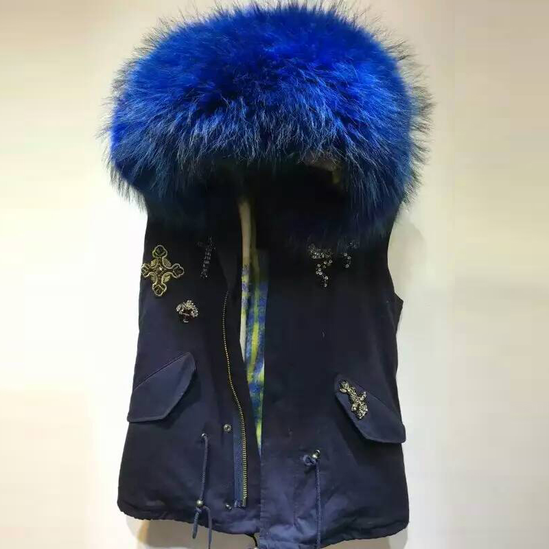 Mramp; Manteau Avec Gilet PorterBleu blanc Parka Fourrure Bleu Coton Perles Plus Mrs Marine Pour Intérieur Récent BdxoerWC