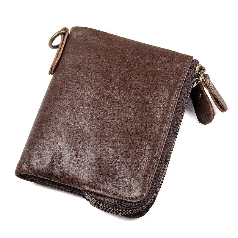 Nouveaux hommes portefeuilles en cuir véritable RFID protégé portefeuilles courts sac à main avec fermeture éclair en gros vintage huile cuir court argent clips