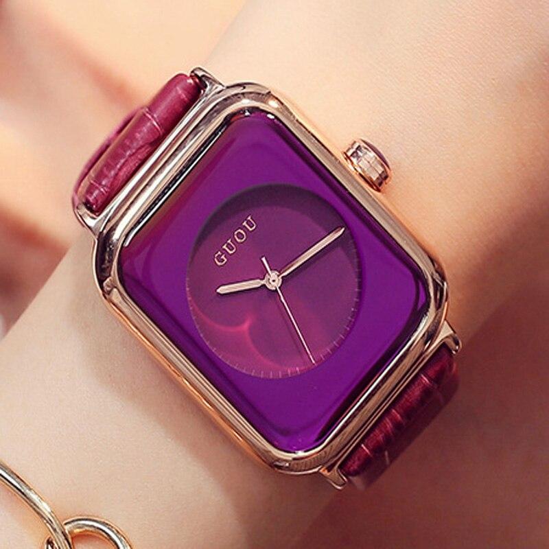 GUOU Γυναικεία ρολόγια Rose χρυσό μόδας κυρίες ρολόι ρολογιών γνήσιο δέρμα ορθογώνιο ρολόι relogio γυναικεία σαλάτα reloj mujer