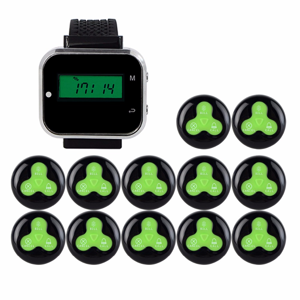 433MHz Wireless Pager Calling System Restaurant Equipment For Factory Coffee Watch Wrist Receiver + 12pcs Call Button F3300A tivdio 433mhz wireless 2 wrist watch receiver 20 calling transmitter button call pager four key pager restaurant equipment f3285