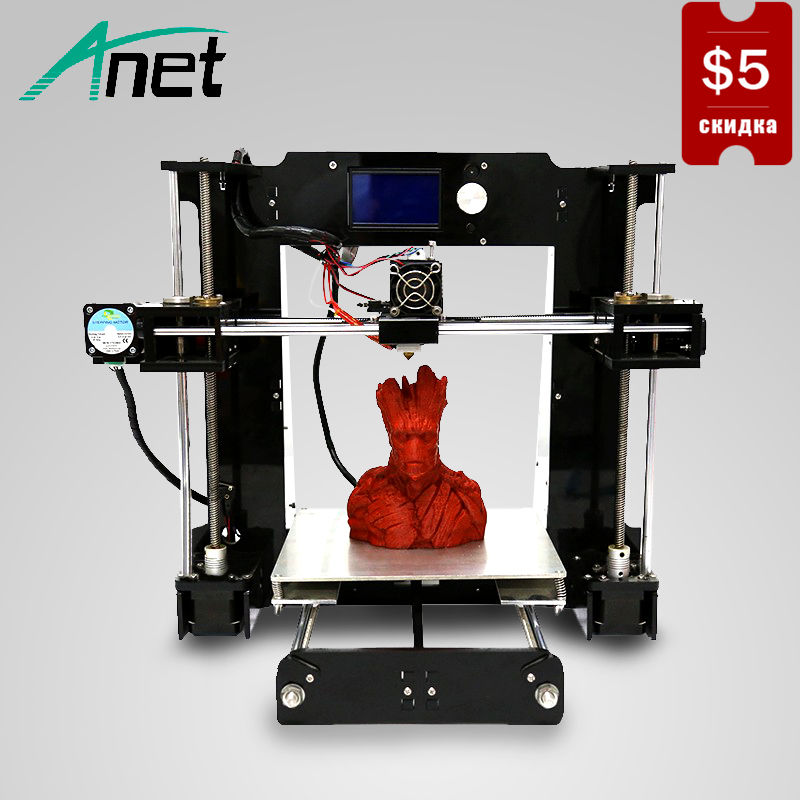 High Precision A6 3D Printer 12864 LCD Screen Aluminum Hotbed 16GB SD Card Prusa i3 Reprap DIY Kit Easy Assembly Moscow Stock все цены
