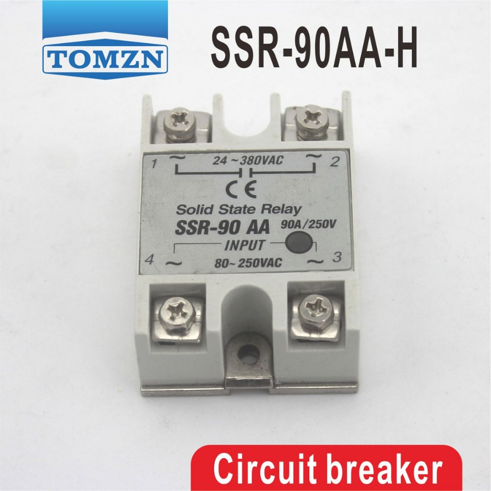 90AA SSR 90AA-H High voltage type input 80-250V AC load 24-380V AC single phase AC solid state relay 90aa ssr input 80 250vac load 24 380vac single phase ac solid state relay resistance regulator