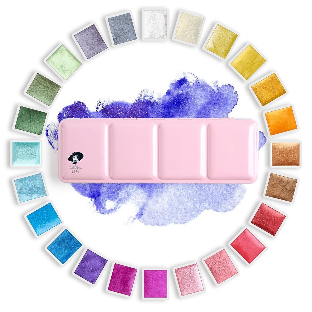 Rubens 12/24 Artist Watercolor Paints Solid Colors-Pink Portable Metal Case with Palette Glitter Watercolor Paint