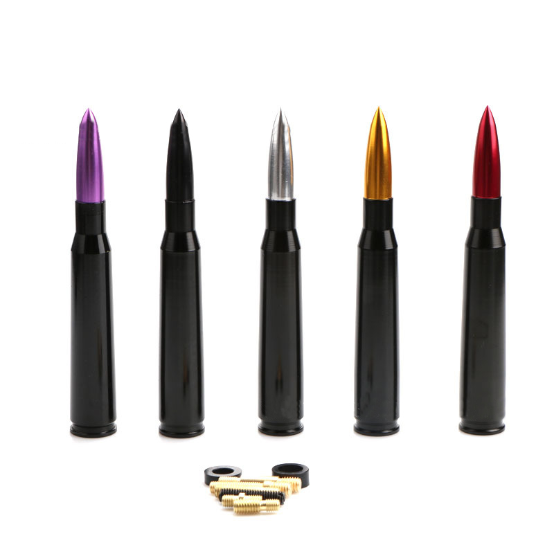 US $3 9 19% OFF|Universal Aluminum Car Roof Bullet Antenna Heavy Gauge CNC  Machined Easy Installation Black SIliver Red Purple Gold-in Aerials from