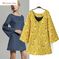2016 New Arrival Autumn Women's Clothing V-Neck Fashion Floral Printing Brief Brand Flare Sleeve Slim Sexy A-Line Dress S-L