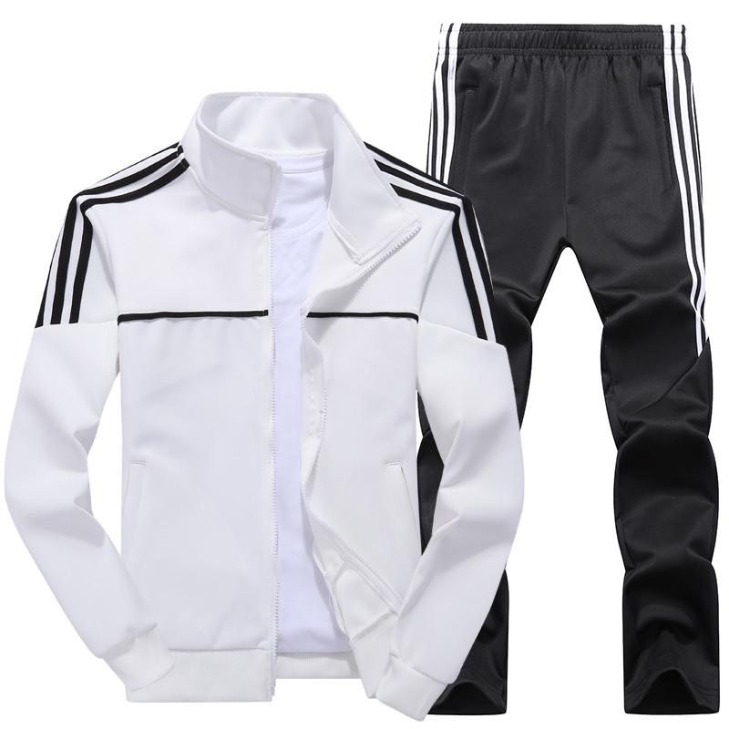 New Men's Set Spring Autumn Men Sportswear 2 Piece Set Sporting Suit Jacket+Pant Sweatsuit Male Tracksuit Asia Size L-4XL