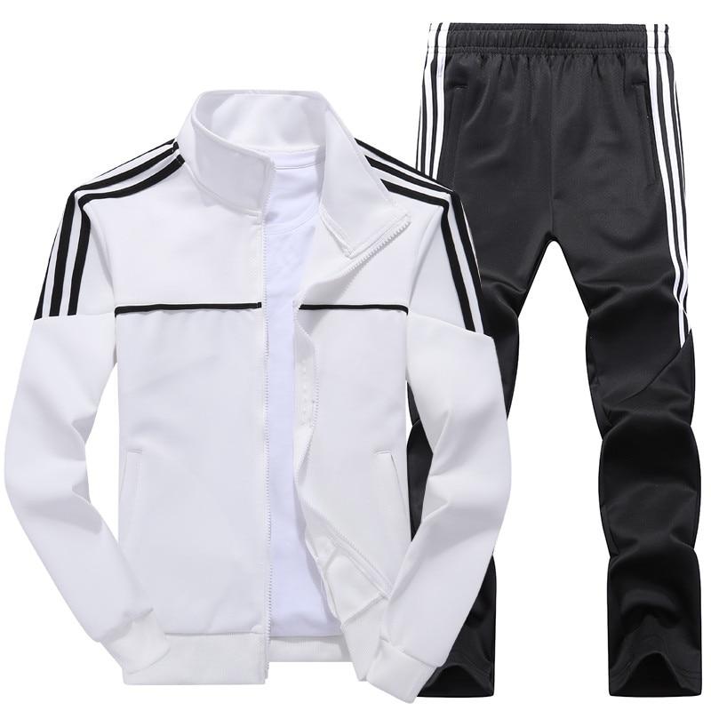 New Men's Set Spring Autumn Men Sportswear 2 Piece Set Sporting Suit Jacket+Pant Sweatsuit Male Tracksuit Asia Size L-4XL