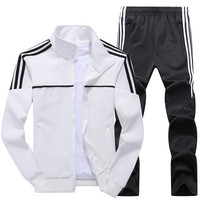 New Men's Set Spring Autumn Men Sportswear 2 Piece Set Sporting Suit Jacket+Pant Sweatsuit Male Tracksuit Asia Size L 4XL