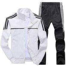 Nuevo conjunto de los hombres de Primavera de otoño de los hombres ropa deportiva Juego de 2 piezas traje deportivo chaqueta + pantalón Sudadera Hombre chándal de Asia tamaño L 4XL