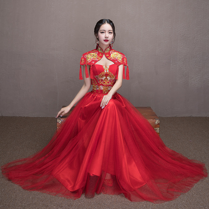 Red Bride Modern Cheongsam Chinese Traditional Dress Wedding Qipao Embroidery Dresses Robe Chinoise Oriental Style Evening Gown все цены